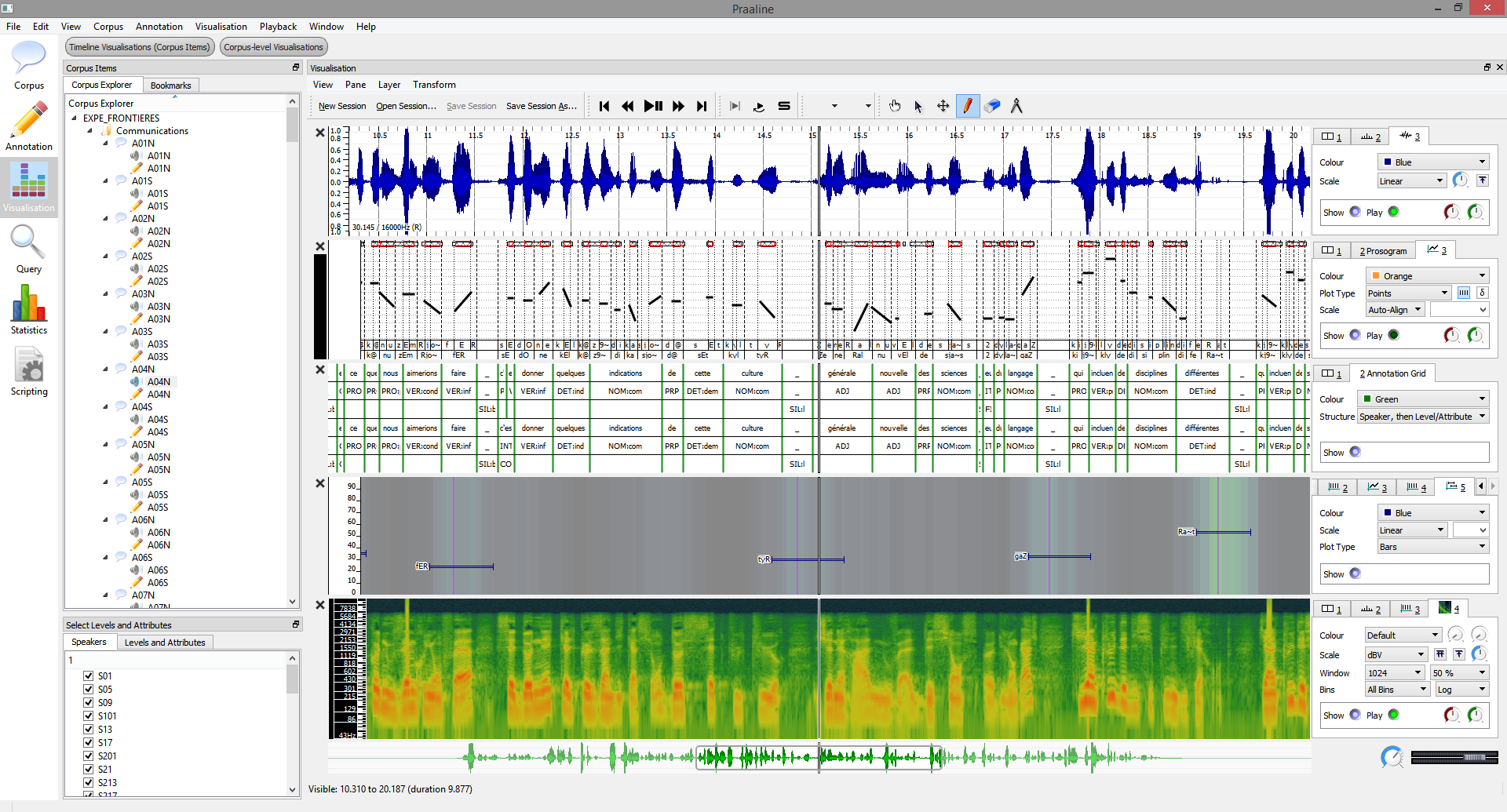 Visualiser with curves and spectrogram